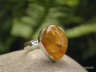 Baltic Amber & 925 SOLID Silver RING (Size 5 1/2, K 1/2)    #276227