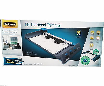 Fellowes Neutron Plus A4 Paper Cutter Rotary Trimmer & 4 Safety Blades NEW