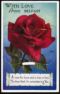 With Love from Belfast red rose novelty vintage postcard