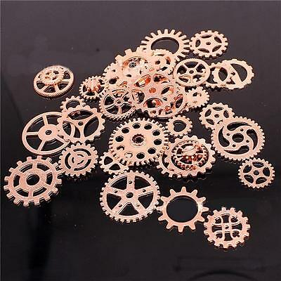 Antiqued Bronze Alloy Mixed Clock Steampunk Gear Pendant Charms 15mm 30mm 100X#