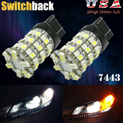 2x Dual Color Switchback 7443 60-LED Bulbs for Turn Signal/Parking Lights