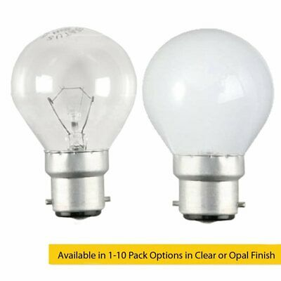 60W BC B22d Incandescent Round Golf Ball Light Bulb Clear or Opal / Pearl Series