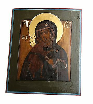Rare Antique Authentic Russian Theodore Icon of the Mother of God 1775-1825 LR