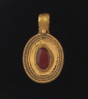 Roman Gold Pendant with Ruby Red Glass Insert,1st -4th Century AD