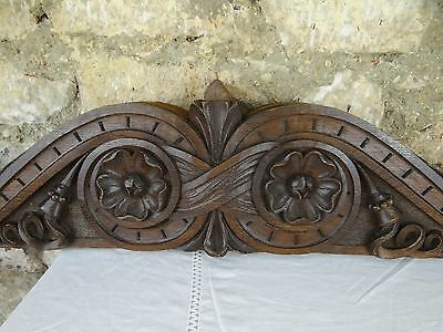 """35"" Beautiful French Antique Carved  Wood Oak Pediment"