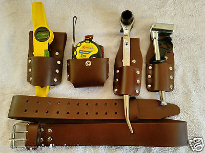 Scaffolding 5Pcs Thick Brown Leather ToolSet Belt With 4 PcsGood Tool Set