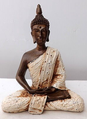 Buddha Thai 26 cm Resin Origin Indonesia Shiva Ganesh Divinity White Bronz