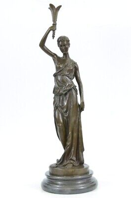 Art Deco Art Nouveau Signed Roman Girl Bronze Sculpture Hot Cast Figure