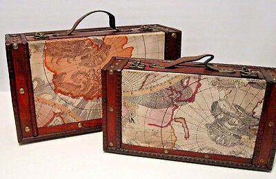 Vintage Style Set Of 2 Old World Map Brass Wooden Suitcase Trunk Storage Box