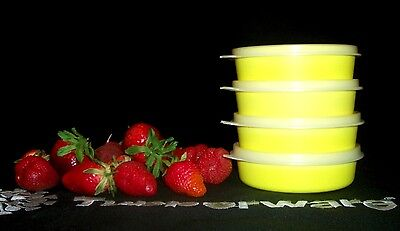 Tupperware NEW 4 NEON YELLOW Little Wonder 6oz lunchbox snack Bowls ~SHEER Seals