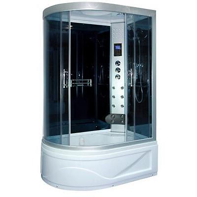 1300mm x 850mm Offset Quad Thermostatic Steam Shower Enclosure Cubicle Tray MP3