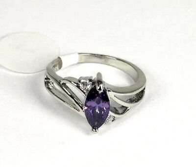 R#6115 simulated Purple Amethyst gemstone Solitaire ladies silver ring size 8