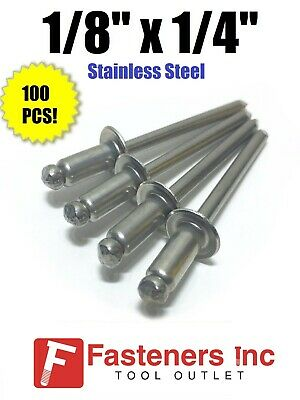"(QTY 100) POP Rivets ALL Stainless Steel 4-4 1/8"" x 1/4"" Grip Range"