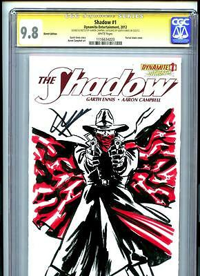 The Shadow #1 (2012) Dynamite CGC 9.8 White Original Sketch Cover by Campbell