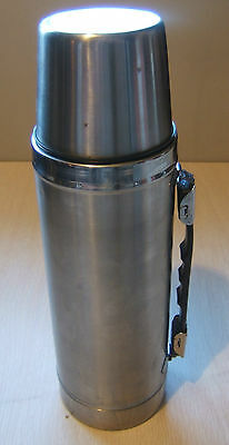 "Stainless Steel Thermos 1 Litre or 34 Fluid Oz 13"" Tall Dent in the Bottom"