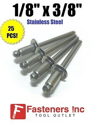 "(QTY 25) POP Rivets ALL Stainless Steel 4-6 1/8"" x 3/8"" Grip Range"
