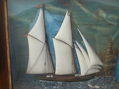Antique Schooner Sailing Ship ~ Huge 1850S Boat American Diorama ~ Lighthouse