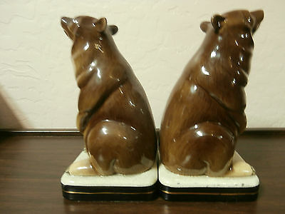 Vintage Porcelain Grizzly Bear Bookends from Japan