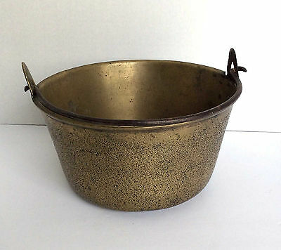Large Very Old Antique Brass Cooking Pot Kettle Bean Cauldron Fireplace Hearth