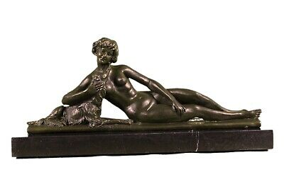 Art Deco Signed L. Bruns France 1920/30 Bronze Sculpture Hot Cast Figure