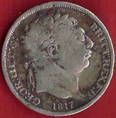 GB-UK 1817 Silver 6d Sixpence George III Milled (1816-1837) Very fine