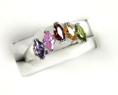 R#3976 simulated Multi Colored Marquise Gemstone ladies silver ring size 7.25