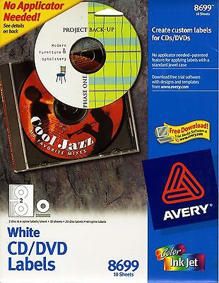 Avery Inkjet Cd Labels Matte White 40pack 8692 1442 Picclick