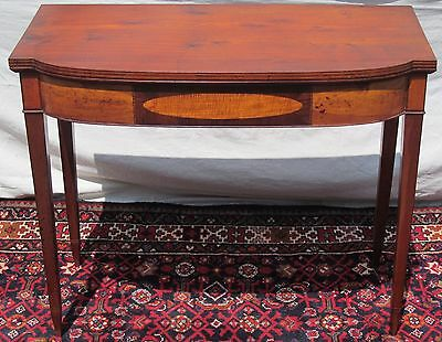 18Th C Federal Tiger Maple & Birch Antique Game Table Console ~ Portsmouth Nh