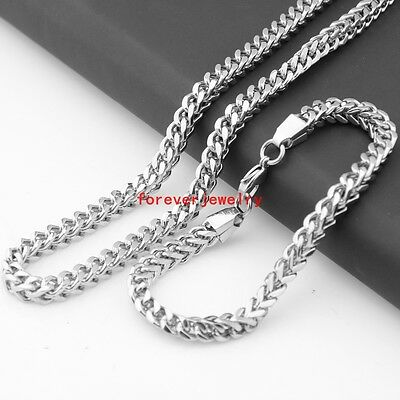 """Cool Stainless Steel Silver Figaro Chain Mens Necklace 23.6""""&Bracelet 9.44"""" Sets"""