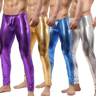 Mens Sexy Novelty Shiny Metallic Stretch Gay Pants Wetlook Skinny Muscle Tights