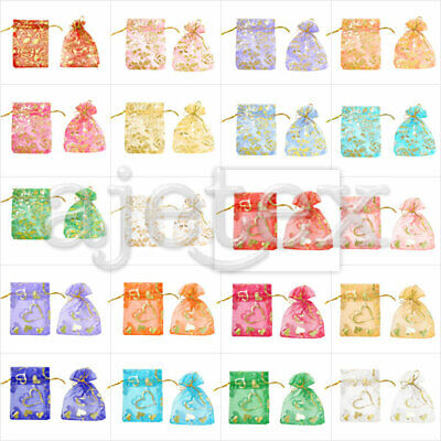 20/40/60/100pcs Heart Flowers Organza Bags Gift Jewellery Candy Pouches 7x9cm
