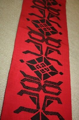 Japanese Vintage black Colored Abstract Pattern weave obi red ground