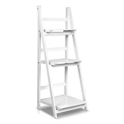 Wooden Ladder Display Storage Shelf White