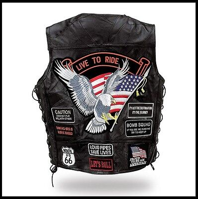 Gilet en cuir jacket  Aigle / Live To Ride -  Grande taille !  ~ biker country