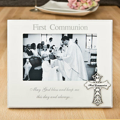 First Communion 6 x 4 Frame with ornate metal cross attachment 12176