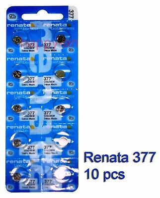 Renata SR626SW 377 Silver Oxide button Battery x 10 pcs Swiss Made FREE Post