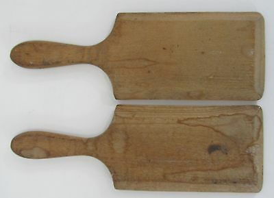 """Pair Of Vintage Wooden Butter Pats With Line Detail Size 9"""" x 3"""""""