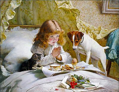 Jack Russell Kitten Girl Pray Cat Dog Puppy Dogs Puppies Vintage Poster Print