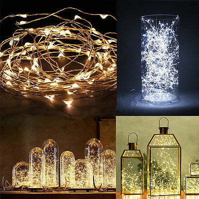 20/50/100LED Copper Wire Fairy String Light Battery Xmas Waterproof colorful YD#