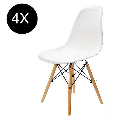 4 x White Eames Chairs Sinspire Eiffel DSW Retro Lounge Cafe Office Dining Chair