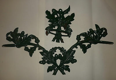 2 Piece Heavy Cast Iron Wall Art Plant Hanger Acorn, Oak Leaf Leaves, Flower Pot