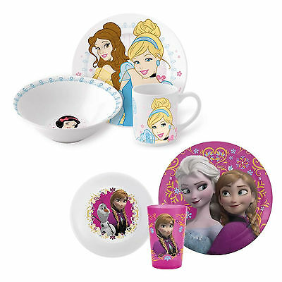 Disney Princess Ceramic or Frozen Plastic 3 Piece Breakfast Dinner Meal Sets New