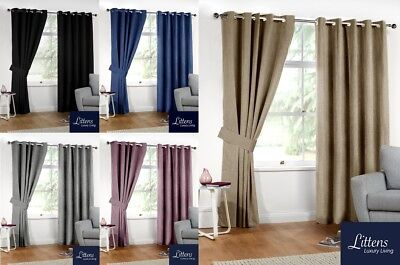 Luxury Linen Look Thermal Blackout Pair Curtains, Eyelet, Ring Top, Double Lined