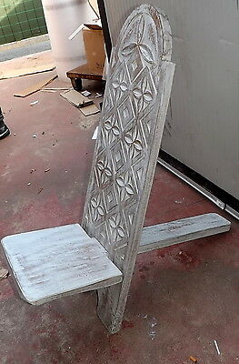 Wooden chair in mahogany type deck white pickled carved by hand cm 100x34x31