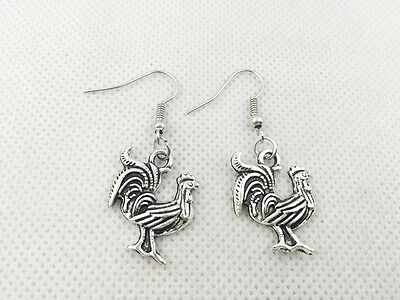 New 1 pair Free Fashion Antique silver Jewelry style earring Jeweller Cock