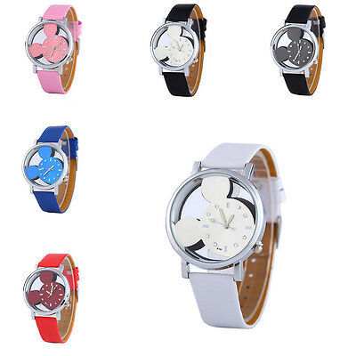 Classical Cartoon Shape Women Watch Transparent Hollow Dial Leather Kids 6Color