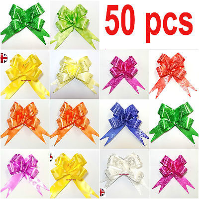 50 X LARGE Ribbon Bows assorted colour easy pull flower ribbon party decorations