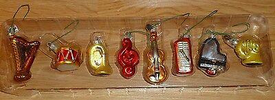 Dept 56 Mini Glass Christmas Ornaments MUSICAL INSTRUMENTS Set of 8
