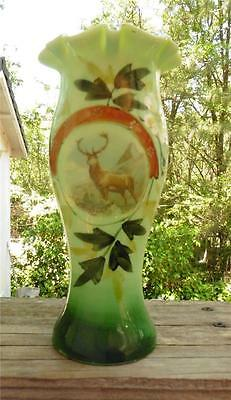 Antique-Vintage Hand Blown & Hand Painted Green Elk in Mt. Art Glass Vase