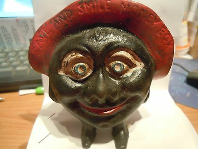 """Vintage Save and Smile Money Box Black Americana English Cast Iron Coin Bank 4"""""""